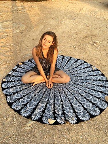 urbancharm- schwarz & weiß indischen Pfauenfeder Mandala rund Roundie Beach Überwurf Tapisserie Hippie Boho Gypsy Baumwolle Tischdecke Strandtuch