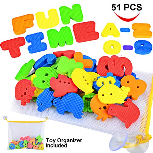 Joyin-Toy-51-Pieces-Educational-Bath-Letters-Numbers-Sealifes-and-Transportations-Bath-Toys-with-Toy-Organizer