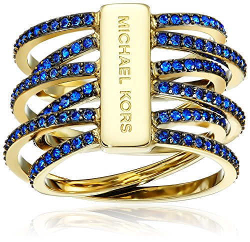 Michael Kors Blue Pave Crossover Gold-Tone Ring, Size 7