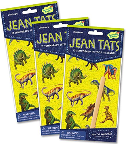 Peaceable Kingdom Jean Tats Dinosaurs Temporary Tattoos for Fabric - 3 Pack