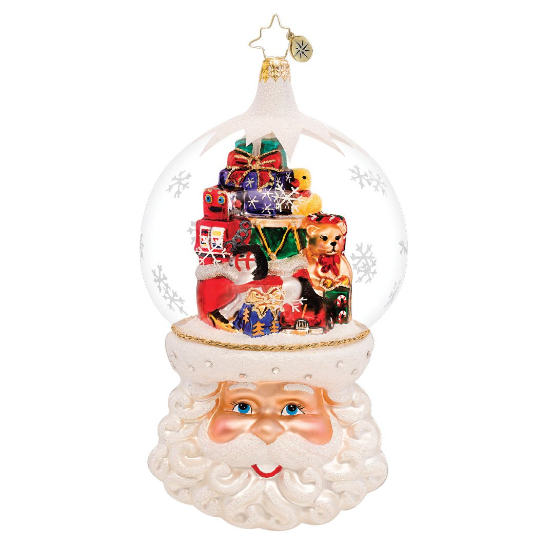 Christopher Radko Snow Globe Ornament Featuring Santa Claus