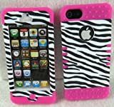 iPhone 5 Case Heavy Duty ishield Hybrid Zebra Snap On+Hot Pink Silicone With Free Pink Touch Pen