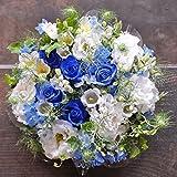 フローリストワタリ 【生花】青バラとトルコキキョウのブーケ(ブルー、ホワイト系) フラワーギフト プレゼント 誕生日 発表会 お祝い