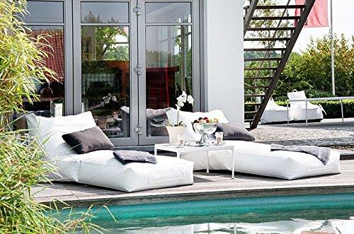 Sonnenliege weiss Outdoor Sitzmöbel Royal 180x75cm skin-white Sitzsackliege Gartenmöbel günstig online kaufen