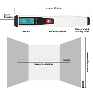 Mini Laser Distance Meter Penlaser Digital Tape Measure Pen Bonus Laser Pointer Packed in PU Case For Home DIY Alkaline Batteries Included