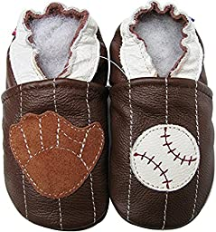 Carozoo Baby Boys\' Baseball Soft Sole Leather Shoes brown (6-7 years)