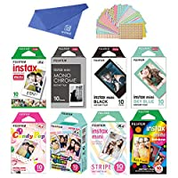 Fujifilm Instax Mini Instant Film 8-SET , Monochrome + Black + Sky Blue + Single + Candy Pop + Stained Glass + Stripe + Rainbow + Cloth + Sticker for Mini 90 8 70 7s 50s 25 300 Camera SP-1 Printer