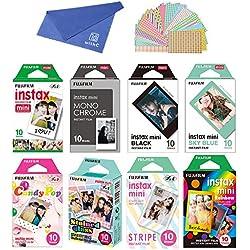 Fujifilm Instax Mini Instant Film 8-SET , Monochrome + Black + Sky Blue + Single + Candy Pop + Stained Glass + Stripe + Rainbow + Cloth + Sticker for Mini 90 8 70 7s 50s 25 300 Camera SP-1 Printer
