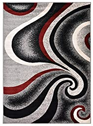 Comfy Collection New Swirl Design Area Rug Modern Contemporary Rug (Grey, 4\'11\