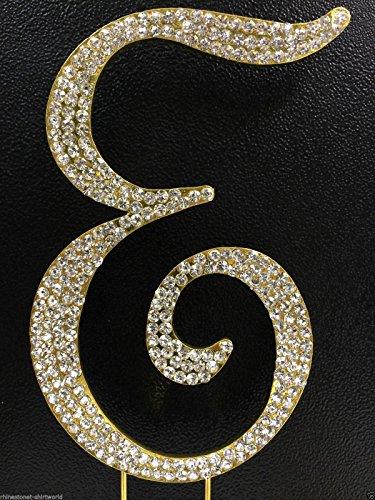 Crystal Rhinestone Covered Gold Monogram Wedding Cake Topper Letter E front-964756