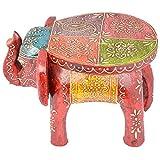 Rajgharana Handicrafts Multi Color Wooden Painted Elephant Style Seat - (22 Cm X 17 Cm X 17 Cm)