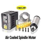 MYSWEETY 1Set DIY 110V 2200W Air Cooled Spindle Motor CNC Spindle Motor 80MM 2.2KW + 110V 2.2KW Converter + 13pcs ER20 Collet + 80MM Clamp (Tamaño: 1Set)