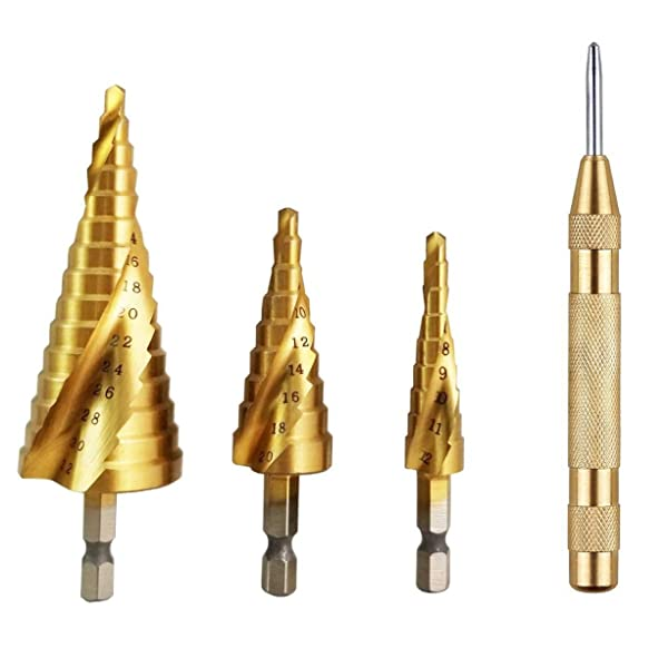 uxcell Automatic Center Punch HSS Adjustable Spring Loaded Drill Tool Gold Tone 2Pcs