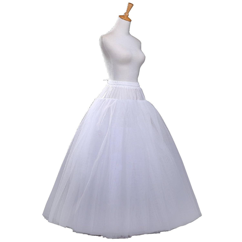 Fashion Plaza Unterrock Krinoline 6 Schichten Tüll ohne Reifen bodenlangen Braut Petticoat A0003