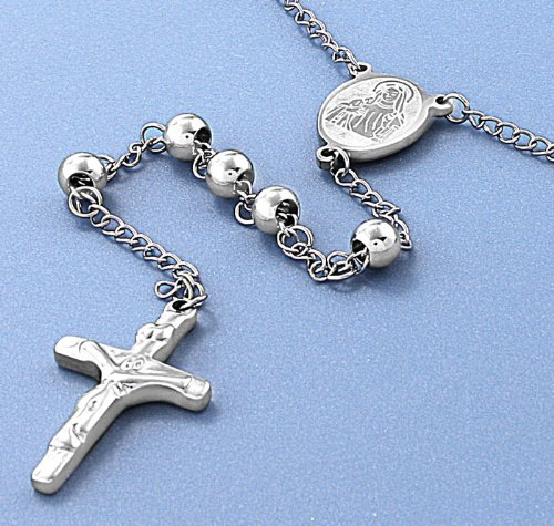 316L Stainless Steel Necklace with Cross Pendant - Rosary Design with 6mm Stainless Steel Beads - Finish: Polished , Metal Material : 316L Stainless Steel - Cross Pendant Height : 32mm . Chain Length : 30