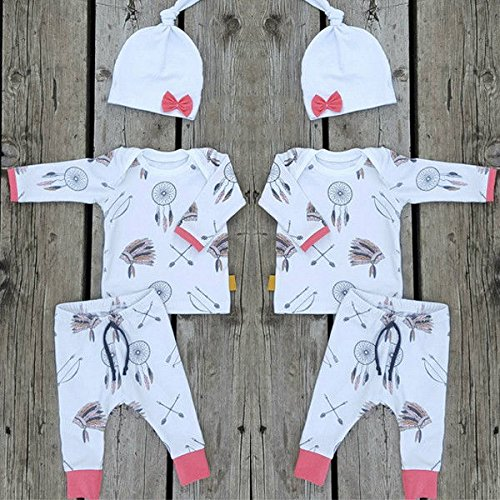 Newborn Baby Girls Clothes Dreamcatcher Long Sleeve Tops + Pants Hat Outfits Set
