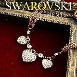 【SWAROVSKI ELEMENTS】トリプルハート ネックレス スワロフスキーエレメンツ #1028 ピンクゴールド