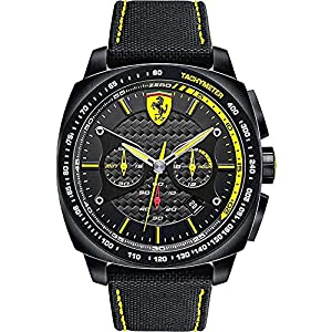 Scuderia Ferrari Watches Men's Aeroeveo Chronograph Watch In Black With Yellow Accents