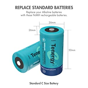 Tenergy C Size Battery 1.2V 5000mAh High Capacity NiMH Rechargeable Battery for LED Flashlights Kids Toy and More (8 pcs) (Tamaño: 8 Pcs)
