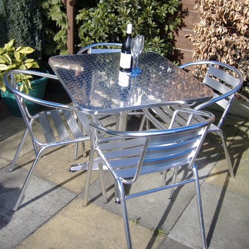 fe902d99749d Deals For Alfresia Nice Aluminium Cafe Garden Furniture Set (Square ...