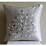 Silver Leaf - 20x20 inches Square Decorative Throw Pillow Covers in Silk with Pearl & Leather Embroidery
