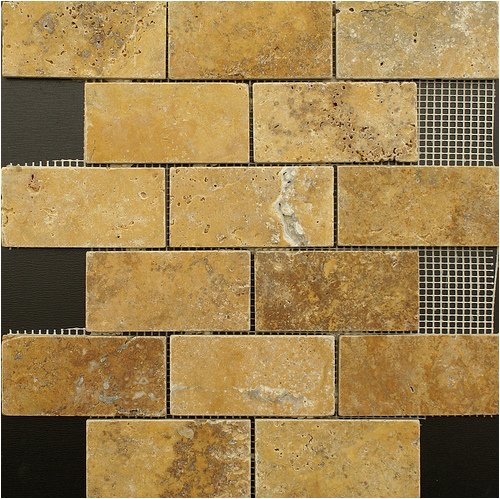 2x4 Gold / Yellow Tumble Travertine Tiles on 12x12 sheets for Backsplash, Shower Walls, Bathroom Floors