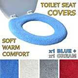 Toilet Seat Cover - Super Warm Fleece - Metal Retaining Ring - CHOOSE Cream or Red - Universal Fit - Machine Washable (1x Cream + 1x Blue)
