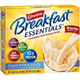 Carnation Breakfast Essentials Powder Drink Mix, Classic French Vanilla, 10 Count Box of 1.26 oz Packets, 6 Pack