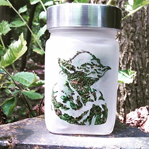 Yoda Etched Glass Stash Jar - Star Wars Inspired