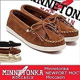 (ミネトンカ)MINNETONKA モカシン NEWPORT MOC キルティ ニューポート モック US7.5(約24.0-24.5cm) BLACK(400L) (並行輸入品)