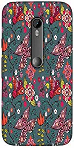 Snoogg Seamless Pattern With Butterflies And Flowers Solid Snap On - Back Cov...