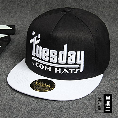 Dngy*Cappelli coppie hip hop cap ?? femmina bordo piatto cappuccio e cappello da baseball cap street dance cappello outdoor leisure ,B- tappo nero