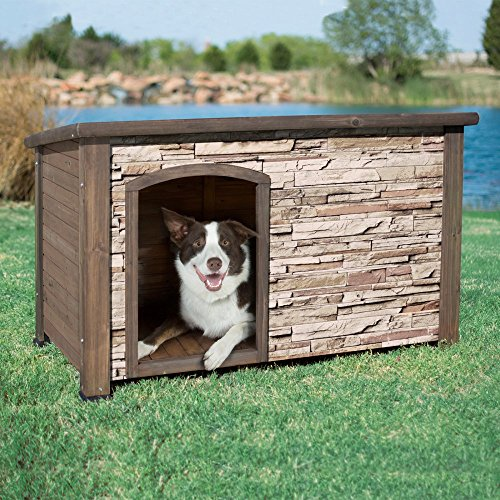Precision Pet Products Precision Extreme Outback Woodstone Faux Stone Dog House - Rust Creek, Brown, Medium front-897084