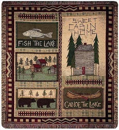 """Big Bear Lodge"" Country Cabin Tapestry Throw Blanket 50"" X 60"" front-343740"