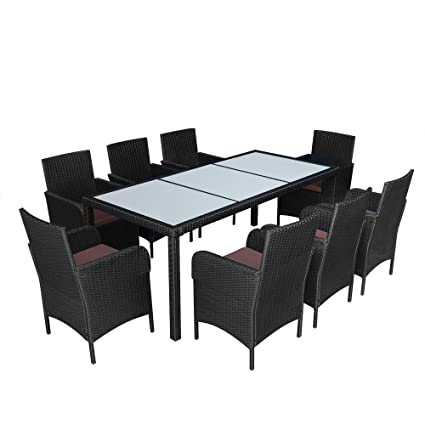 Anaelle Pandamoto Ensemble Table en Verre + 8 Chaises avec Coussin en Rotin PVC Moderne -Imperméable à l'eau -Résistant aux Rayons UV pour Jardin, Balcon, Terrasse, Poids: 90kg, Noir