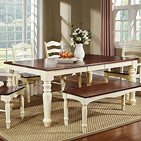 Palisade Country Style Cherry & White Finish Dining Table Bench Set