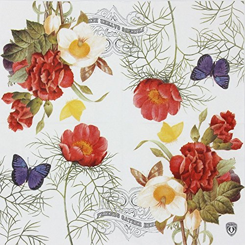 Vintage Floral Paper Napkins, Alink Flowers Butterfly Pattern Napkins for Wedding Tea Party Shower, 20 Count