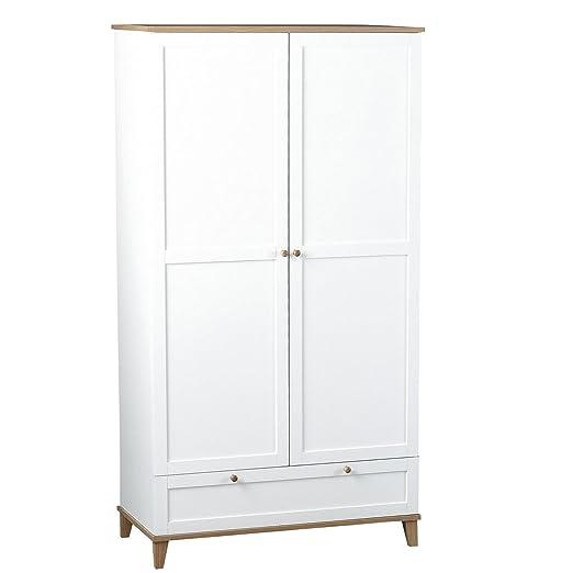 WorldStores Arcadia White 2 Door 1 Drawer Wardrobe