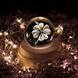 Projection LED Light-3D Crystal Ball Music Box Luminous Rotating Musical Box-Wood Base Best Gift for Birthday Christmas (Four-Leaf Clover) (Color: Four-leaf Clover)