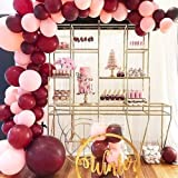 100Pcs Balloon Garland & Arch Kit for Bridal Shower-100Pcs Pink Burgundy Latex Balloons, 16 Feets Arch Balloon Strip Tape, Glue Dots, Tying Tool for Bachelorette Party Wedding Baby Shower Birthday (Color: Pink, Burgundy)