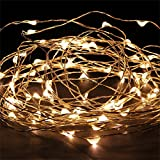 LEMCO - 5M / 16FT Fairy String Lights for Festive Decoration, 50 LED, Warm White, 3xAA Battery Operated