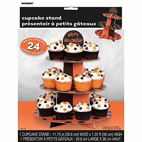 Orange & Black Polka Dot Halloween Cupcake Stand