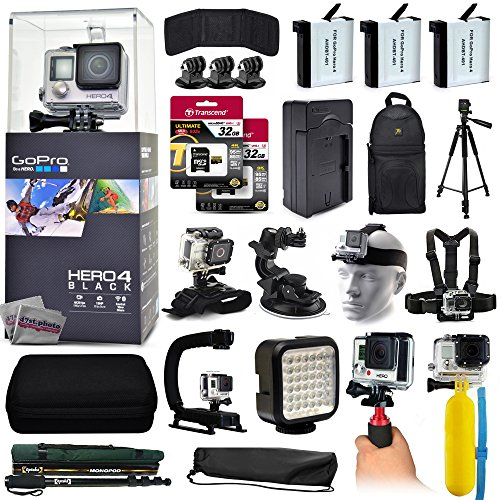 GoPro Hero 4 HERO4 Black CHDHX-401 with 64GB Memory + 3x Batteries + Travel Charger + Backpack + 60