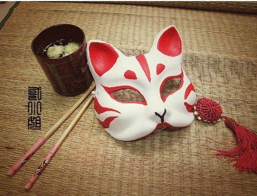 コスプレ小物・道具☆手作り・狐のお面(きつねのおめん)覆面/マスク/仮面