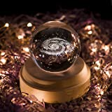 Projection LED Light-3D Crystal Ball Music Box Luminous Rotating Musical Box-Wood Base Best Gift for Birthday Christmas (Galaxy) (Color: Galaxy)