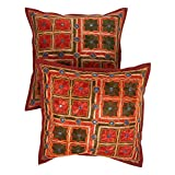 Rajrang Cotton Kantha Mirror Work Sofa Cushion Cover Set Of 2 Pcs Set Of 2 Pcs