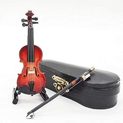 1:12 Violin Wooden Miniature Music Musical Instrument With Case&Holder Gift New by Dollhouse