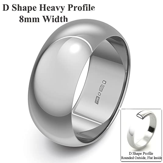 Xzara Jewellery - Palladium 500 8mm Heavy D Shape Hallmarked Ladies/Gents 7.4 Grams Wedding Ring Band