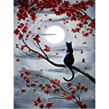 Moohue Beginner 14ct Counted Cross Stitch Kits Cat and Moon Handwork Embroidery Pattern DMC Cotton Thread Aida Cloth Needles Wedding Gifts Bedroom Decor(Cat and Moon) (Color: Cat and moon)