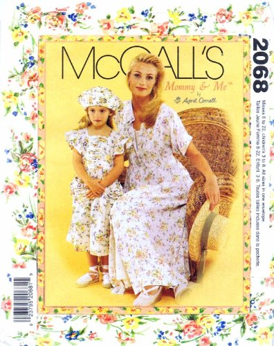Mccall'S 2068 Womens Dress Slip Girls Dress Hat Bag Mommy & Me Sewing Pattern front-989976